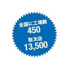 全国に工場450、取次店13500